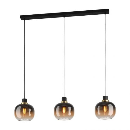 64289-002 Black, Brown, Clear Glass with Black 3 Light over Island Fitting