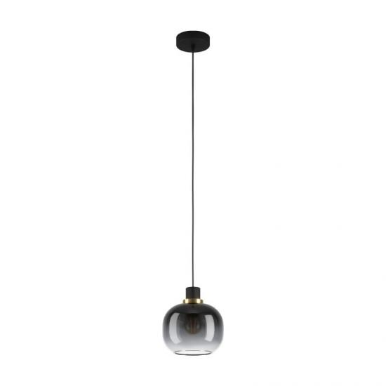 64290-002 Black, Grey, Clear Glass with Black Single Pendant