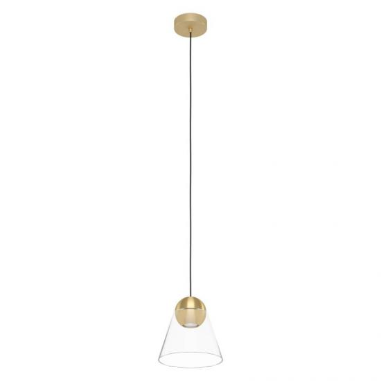 64299-002 Clear Glass & Brushed Gold Single Pendant