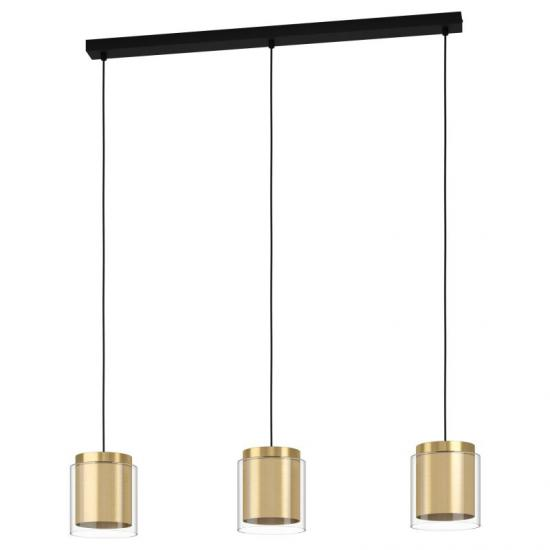 64311-002 Clear Glass & Gold 3 Light over Island Fitting