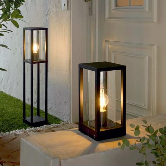 59379-002 Black with Clear Glass Lantern Small Post