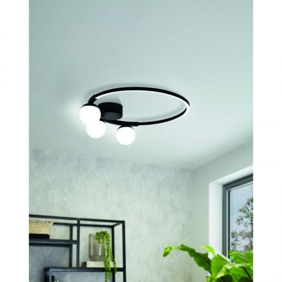 61275-002 LED White Globe & Black Round Flush