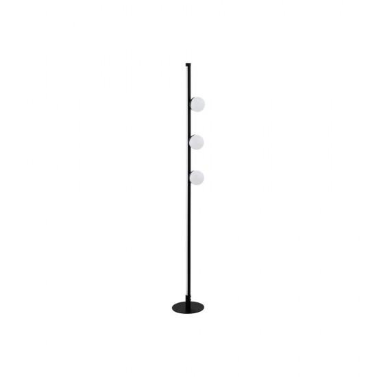 61302-002 LED White Globe & Black Floor Lamp