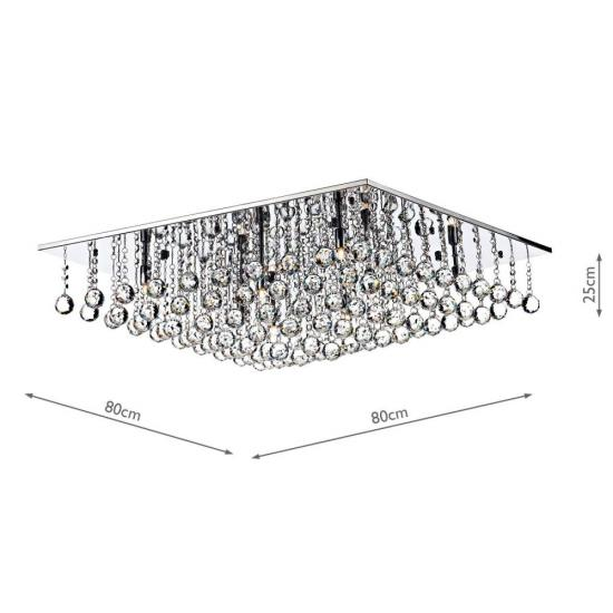 3741-003 Square Chrome With Clear Droppers 8 Light Flush