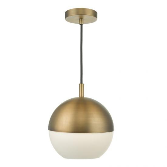 33411-004 Aged Brass with White Glass Single Pendant