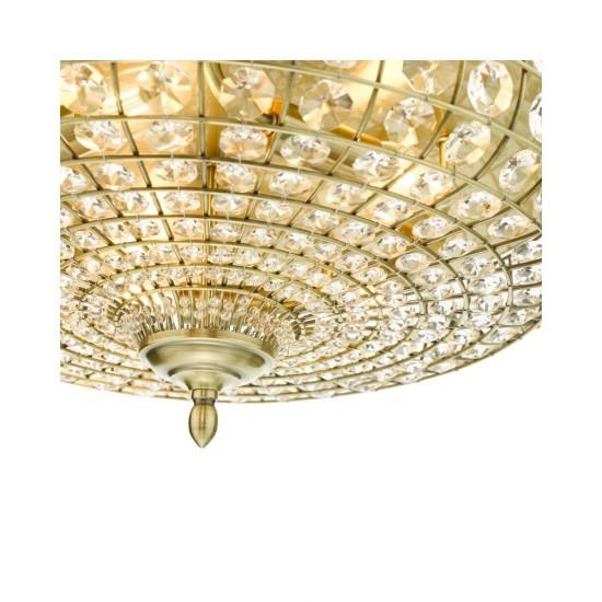 61632-003 Crystal & Antique Brass 5 Light Flush