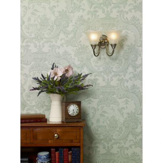 4205-003 Decorative Antique Brass with Glass Double Wall Lamp