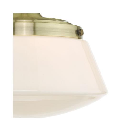 61644-003 Bathroom Antique Brass & Opal Glass Ceiling Lamp
