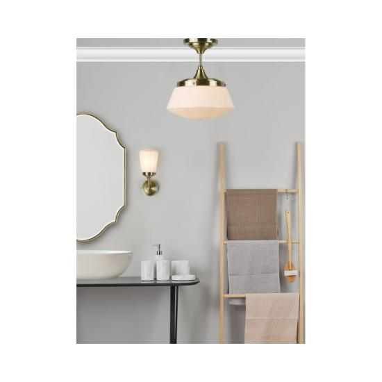 61646-003 Bathroom Antique Brass and Opal Glass Wall Lamp