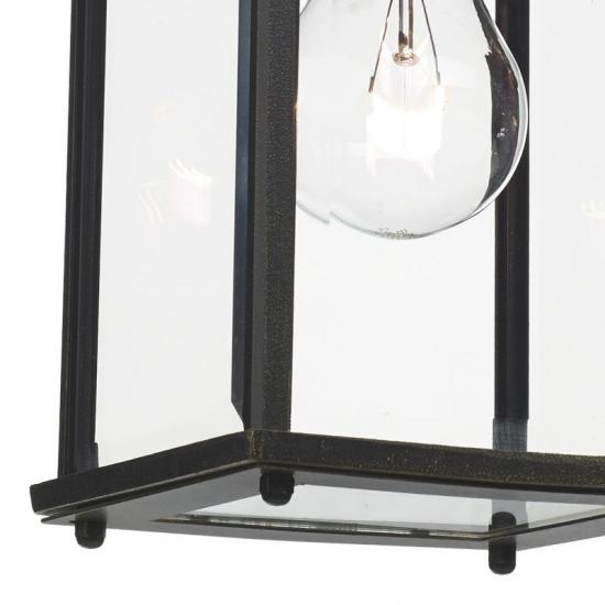4672-003 Black and Gold with Clear Glass Lantern Wall Lamp