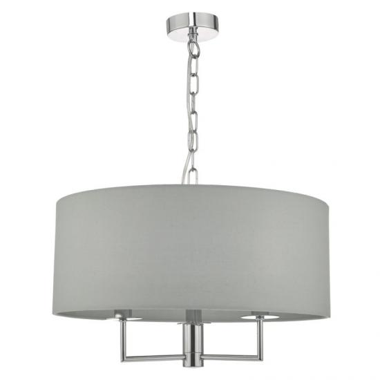 52079-003 Grey Fabric with Polished Chrome 3 Light Hanging Pendant