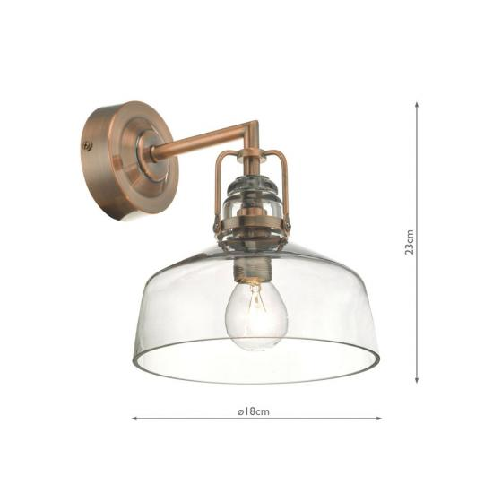 61763-004 Antique Copper & Smoky Glass Wall Lamp
