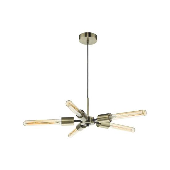61710-003 Antique Brass & Black 5 Light Centre Fitting