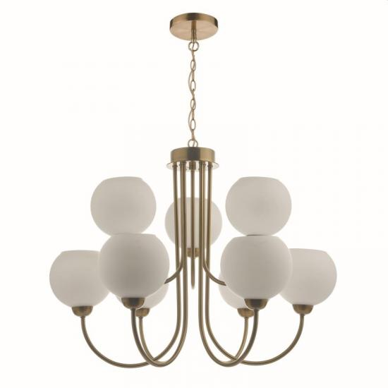 59024-003 Opal Glass with Natural Brass 9 Light Centre Fitting