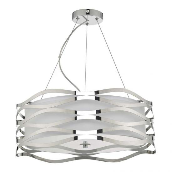 59057-003 White Shade & Diffuser and Chrome 3 Light Pendant