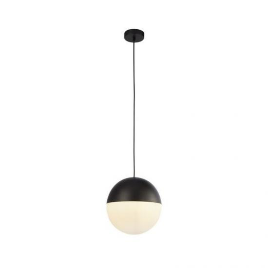 9589-006 White Glass & Matt Black Single Pendant