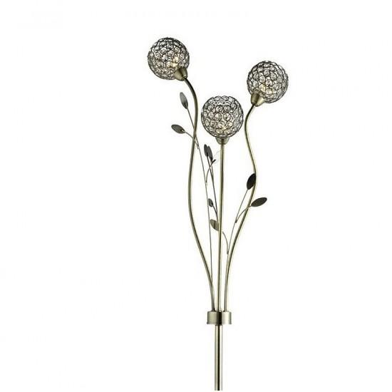 8791-006 Crystal & Antique Brass Leaf 3 Light Floor Lamp