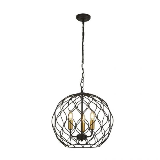 59556-006 Matt Black and Gold 3 Light Globe Pendant