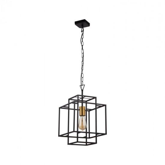 9651-006 Black & Gold Single Cage Pendant