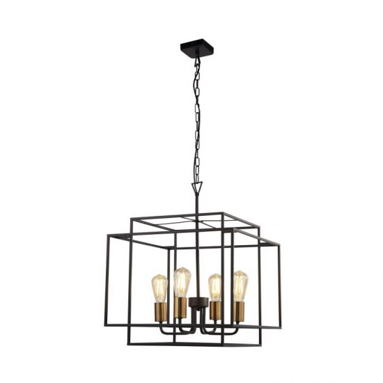59561-006 Black & Gold 4 Light Cage Pendant