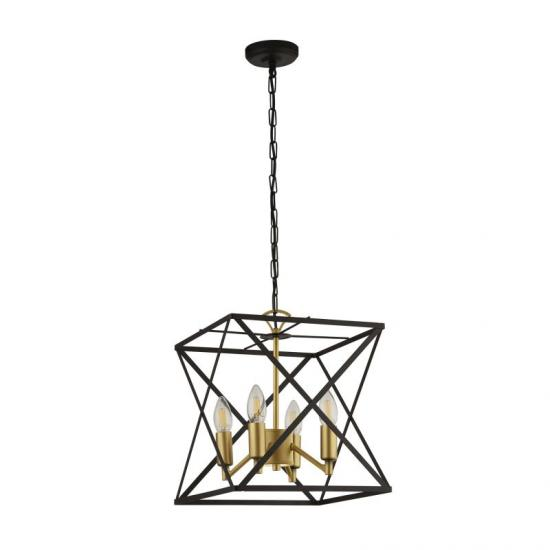 59563-006 Black and Gold 4 Light Cage Pendant