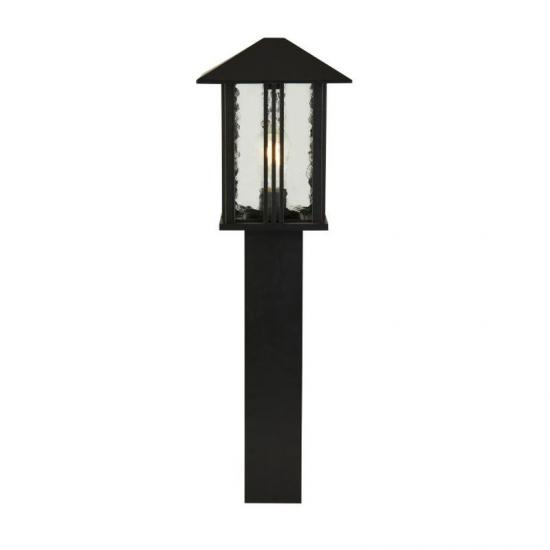 61970-006 Outdoor Clear Water Glass & Black Lantern Big Post