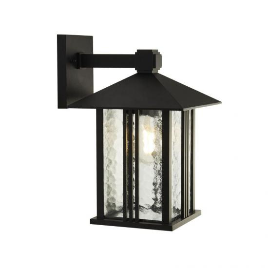 61979-006 Outdoor Clear Water Glass & Black Lantern Wall Lamp