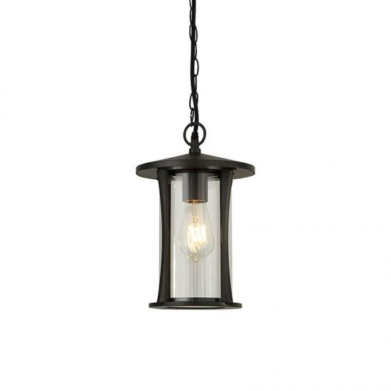 61981-006 Outdoor Clear Glass & Black Lantern Pendant