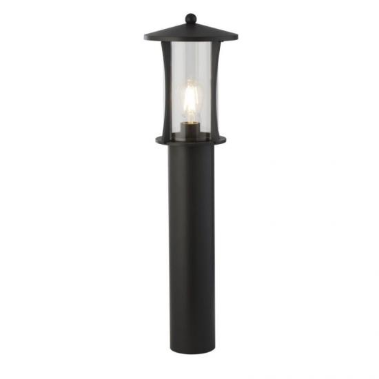 61983-006 Outdoor Clear Glass & Black Lantern Post