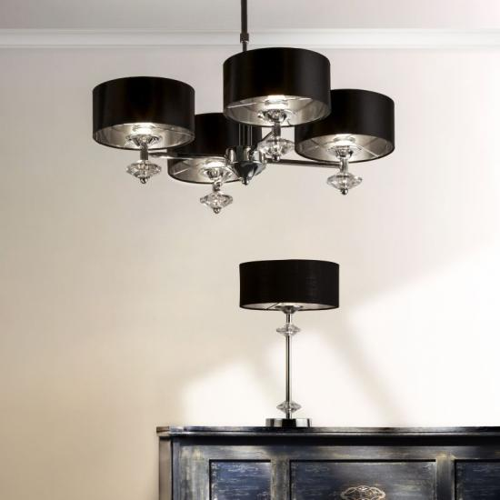59613-006 Black & Polished Chrome Table Lamp