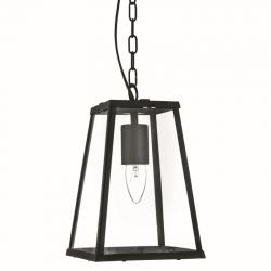 8970-006  TAPERED BLACK LANTERN WITH CLEAR GLASS