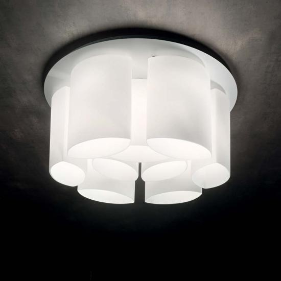 43818-007 White Decorative Glass 9 Light Ceiling Lamp