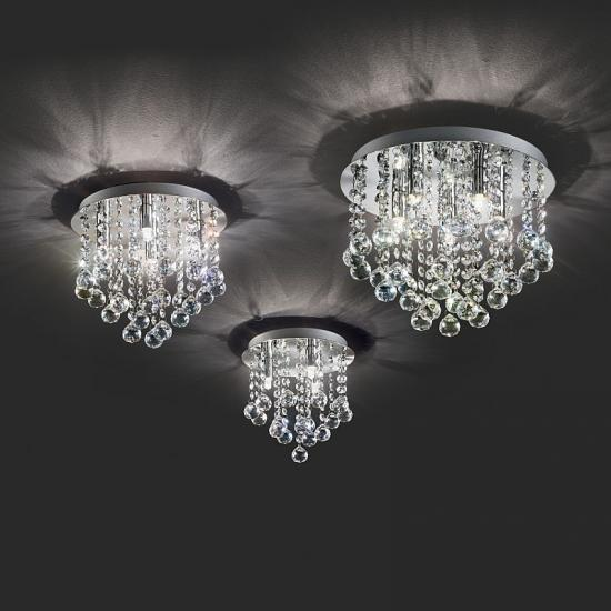 21384-007 Crystal with Chrome 3 Light Ceiling Lamp