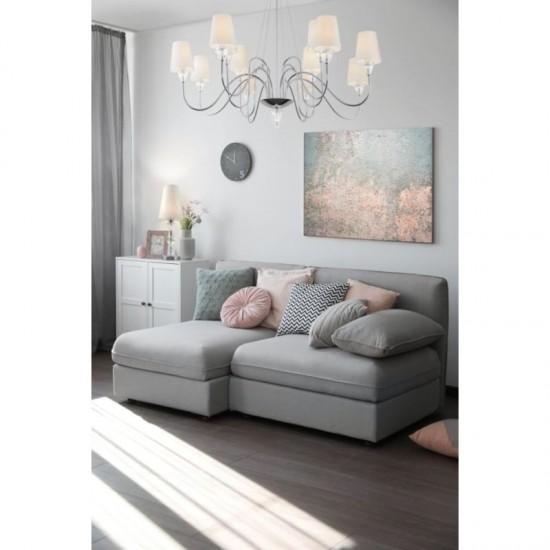 62473-045 White Fabric Shade & Chrome Big Table Lamp