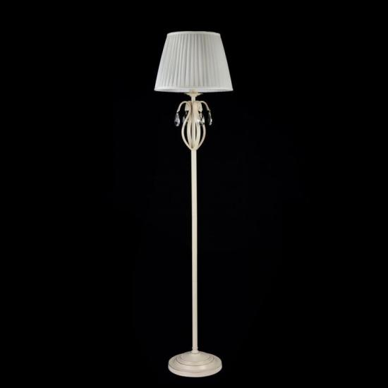 17431-045 White Fabric Floor Lamp -Crystal