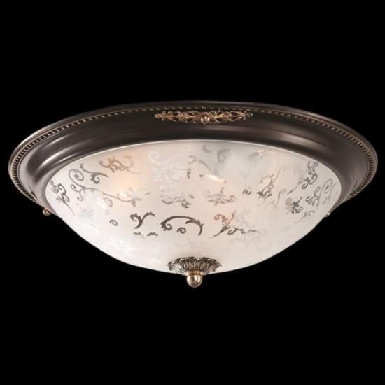 17625-045 Medium Pattern Frosted Glass Flush -Dark Bronze