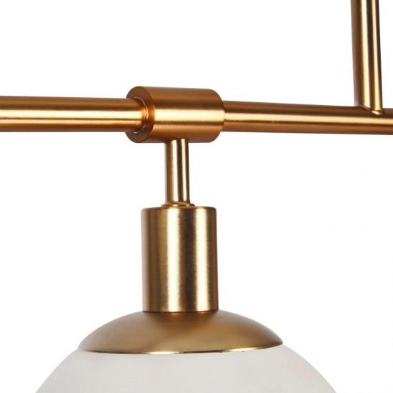 42582-045 Glass Ball 5 Light over Island Fitting -Brass