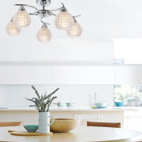 70071-052 Decorative Clear Glass with Chrome 3 Light Ceiling Lamp