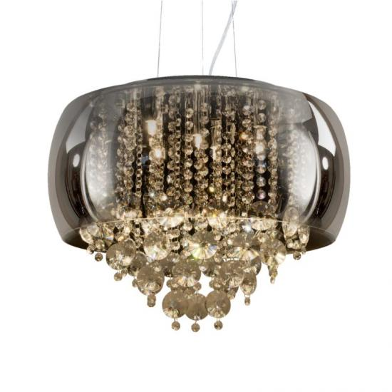 70023-052 Smoky Glass & Crystal with Chrome 9 Light Pendant