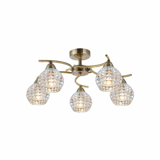 70073-052 Clear Glass with Antique Brass 5 Light Ceiling Lamp