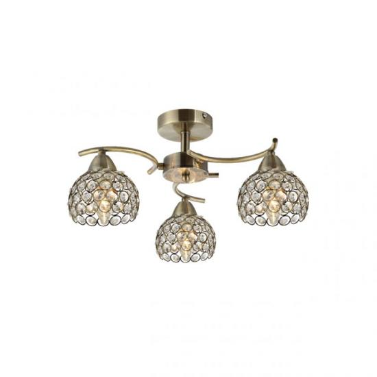 70064-052 Crystal with Antique Brass 3 Light Ceiling Lamp