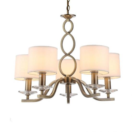 70051-052 White Shades with Antique Brass 5 Light Centre Fitting