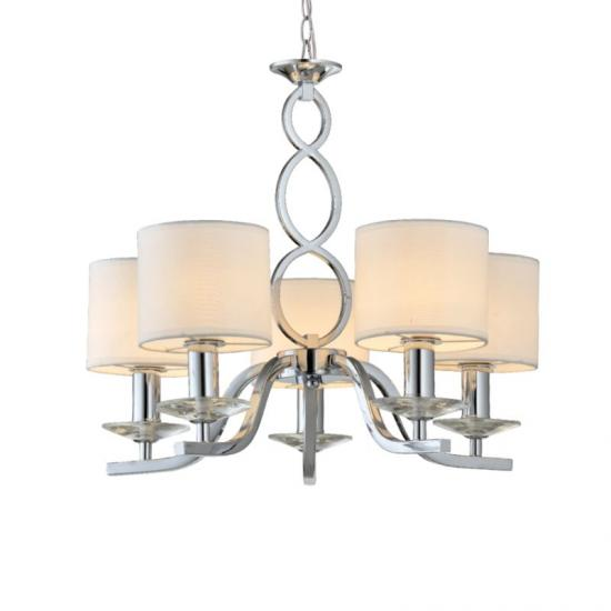 70050-052 White Shades with Chrome 5 Light Centre Fitting