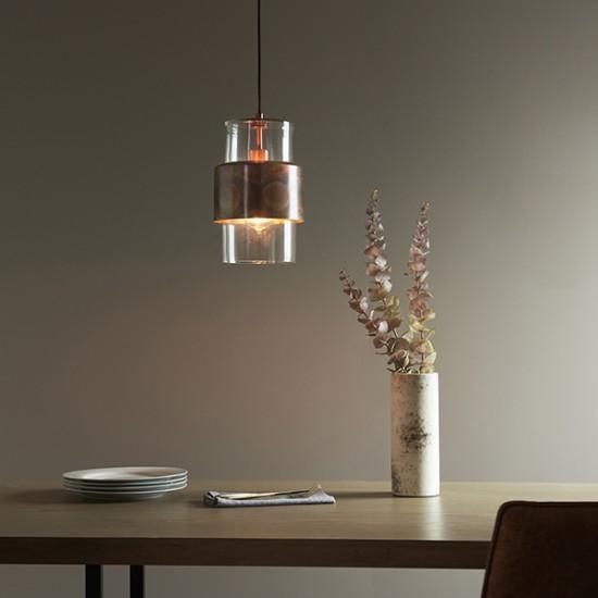 63760-100 Clear Glass & Copper Patina Single Pendant